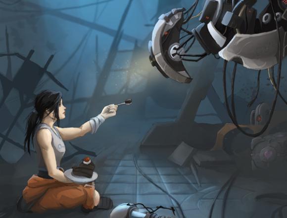 Quintus-Cassius-chell-glados-valve-portal-fan-art-aperture-lab-laboratories-cube